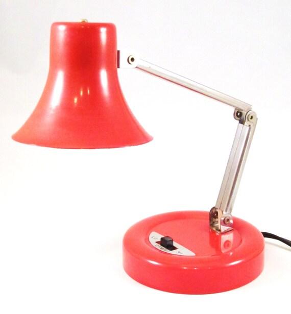 Vintage Red Lamp Mini Small Adjustable 1960s Desk Lamp