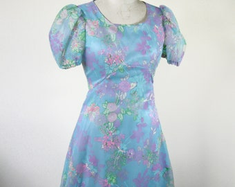 1970s Blue Floral Prom Dress Flocked Maxi Formal Size Small