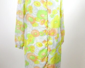 1960s Floral Dress Mod Psychedelic Yellow Orange Green Womens Medium