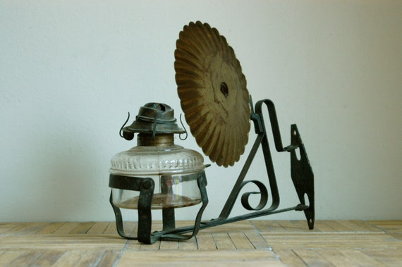 Wall Mounted Oil Lamp With Reflector : Vintage Wall Mount Oil Lamp With Brass Reflector by bonnbonn