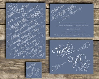 PRINTABLE Wedding Invitation Suite DIY - Blue and White Script Wedding Collection  (Colors Can Be Customized)