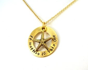 It Matters to This One Starfish Necklace in Golden Brass / Adoption Necklace / Social Work Gift / Social Worker Necklace / Starfish Story