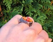 Wire Wrapped Ring - African Paper Bead - Celebrate Life & Hope  SIZE 7 - OOAK Artisan SALE
