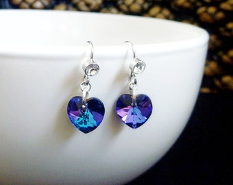 Earrings in Purple Blue Swarovski Crystal hearts with Zircon in Platinum Silver