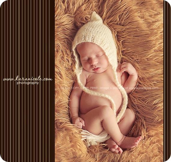 Newborn photo prop, Cream mohair bonnet newborn/ baby hat, newborn boy, newborn girl, newborn knit hat, baby hat, newborn props, baby bonnet