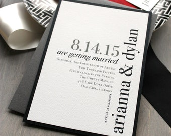 "Modern Wedding Invitations, Wedding Invitation, Urban Chic Wedding Invitations, Black, White and Red - ""Urban Elegance"" Sample"
