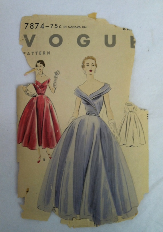 Vintage 1950s Dress Ball Gown 50s Sewing Pattern Vogue 7874