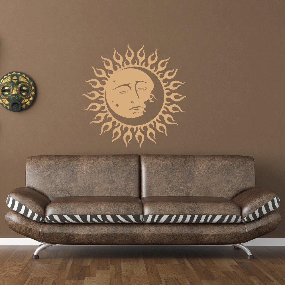wall decal sun and moon vinyl wall art decal sticker wall. Black Bedroom Furniture Sets. Home Design Ideas