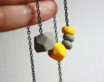 Mustard Yellow & Rhino Gray Necklace - Geometric Beads