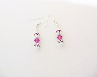 Handmade Earrings Purple Swarovski Crystals Silver Tone Bead Caps Wedding Jewelry Bridal Party Prom Jewellery Gift Guide