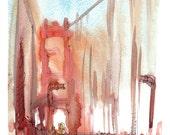 San Francisco Fog Golden Gate Bridge , an impressionistic watercolor sketch in rust fine art print