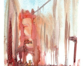 San Francisco Fog Golden Gate Bridge , an impressionistic watercolor sketch in rust fine art print