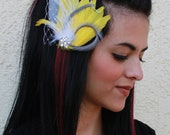 Gray and Canary Yellow Goose Feather Boutique Bridal Hair Clip Fascinator Photp Prop