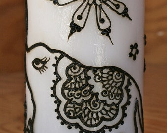 Elephant Henna Candle, Traditional Indian Henna Designs