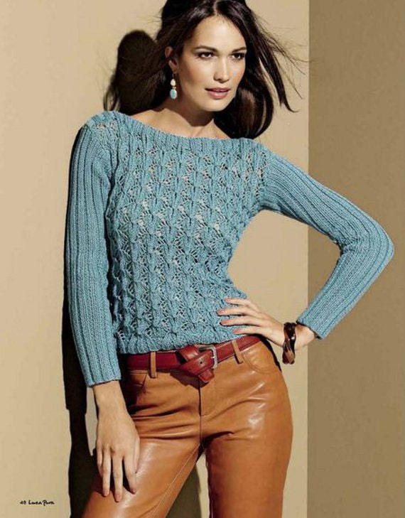 Hand Knit Womens Top, Long Sleeve Shirt, Knitting