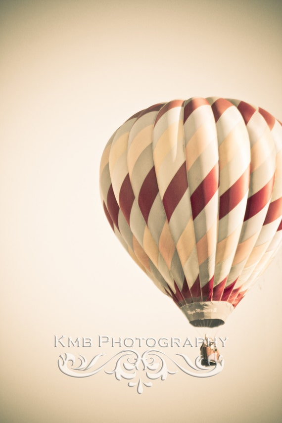 Away.  Rose Vintage Style Hot Air Balloon Nursery Fine Art 8x12, 8x10 or 8x8 Photograph