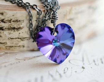 Best Friend Necklace, Heart Pendant, Oxidized Sterling Silver Necklace, Heart Jewelry, Bridesmaid Gift, Purple Violet Cobalt Blue Swarovski