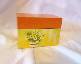Recipe Box Orange Yellow Metal Box
