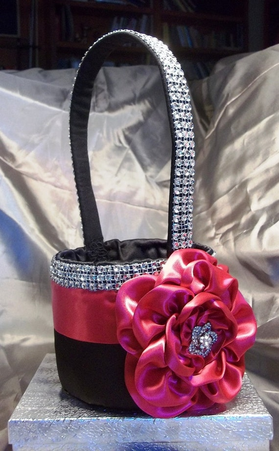 Black Flower Girl Basket with a Fuchsia Satin Rose Rhinestone Mesh handle and Trim