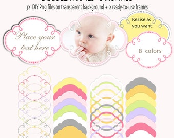 Doodle frames or labels - Digital frames clip art - Baby frame clipart - INSTANT DOWNLOAD Pack 371