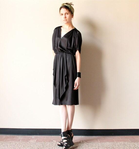 Black Grecian Disco Dress, 70s avant garde minimalist plunging deep v neckline ruched party frock, draped avant garde office fashion