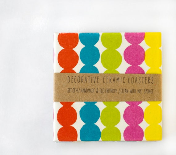 Marimekko coasters, Rasymatto,  Ceramic Drink Coasters, set of 4