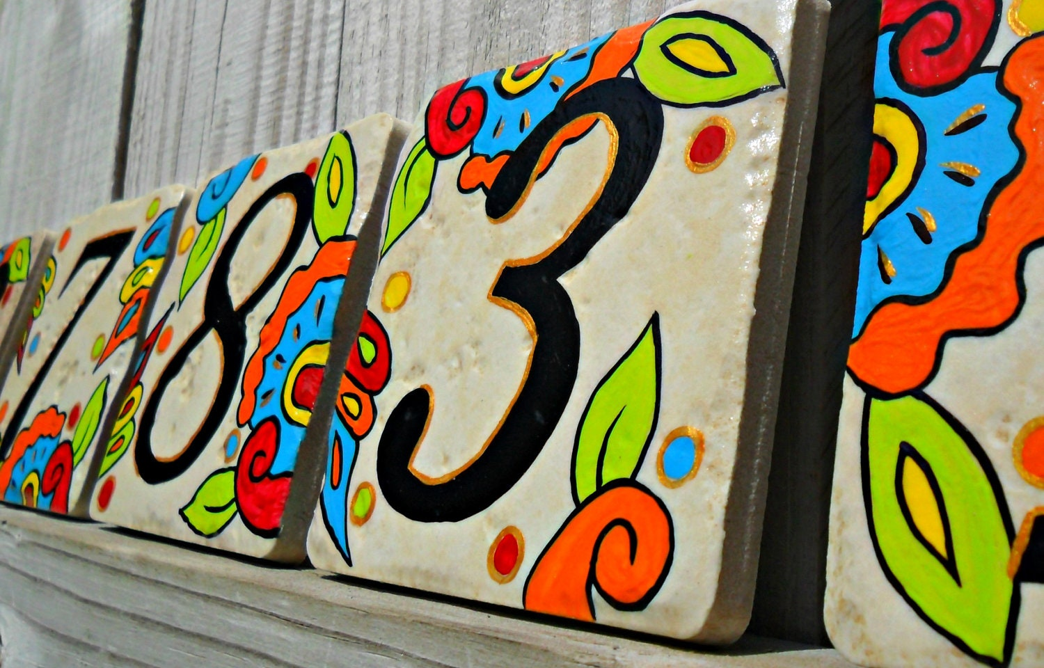 Hand painted house numbers address tiles spanish zoom dailygadgetfo Images