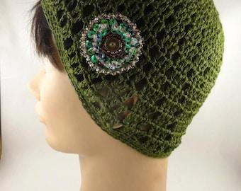 Green Crochet Hat Lacy Crochet Hat Crochet Handcrocheted Lacy Hat Green