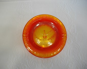 Vintage Glass Ashtray / L. E. Smith Glass Amberiana Red Orange American Eagle Ashtray, Americana, Collectible Glass