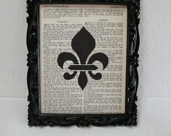 Recycled Vintage Bible Book Page Art Print Stenciled Fleur De Lis