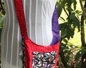 red and black sailing critters saddlebag purse