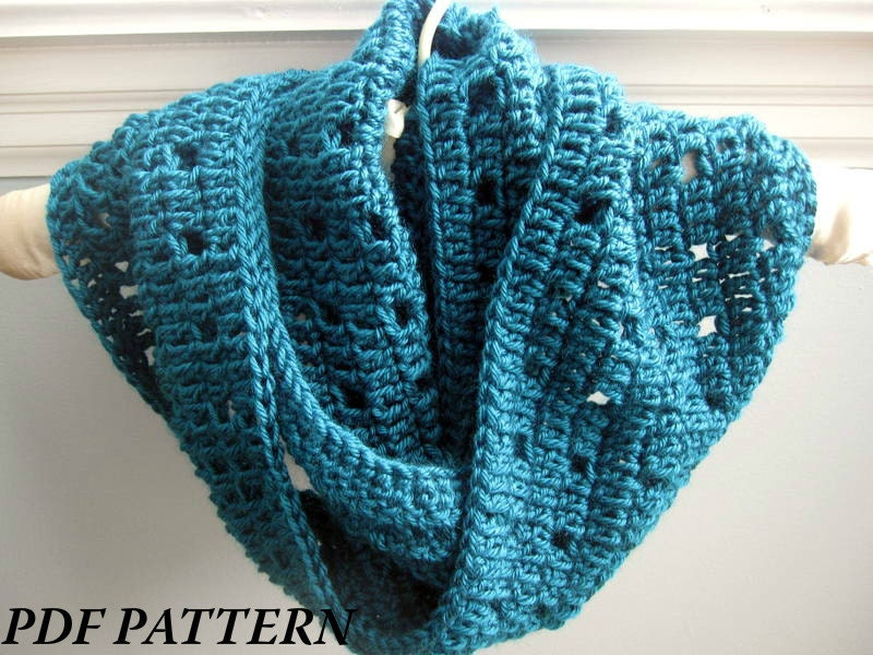 Crochet Pattern For Scarf Easy : CROCHET PATTERN PDF Easy Crochet Cowl / Infinity Scarf
