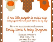 Fall, Autumn, Pumpkin Baby Shower - Onesies on Clothesline (5x7 PRINT-YOUR-OWN)