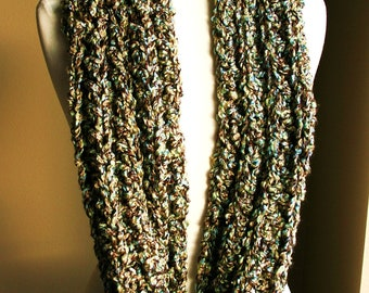Ready to Ship | MOCHA SKY INFINITY Scarf Warm, soft & stylish scarf rich in texture - Tan, Brown, Greens and Blues