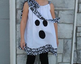 Girls Pillowcase Dress:  Ghost applique, Halloween Party, Costume, Damask Trim