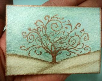 Tree Of Life - ACEO - Teal Brown Bronze Metallic Watercolor - Miniature Painting with Easel - Whimsical Family Tree - Curly Tree Of Life