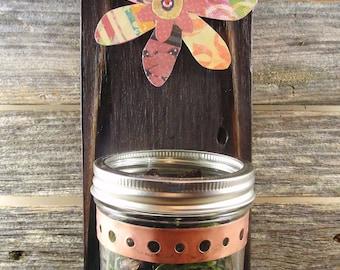 mason jar wall hanging, burnt reclaimed cedar, vase, candle, decoupage flower, pink
