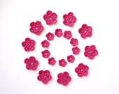 Crochet Flower Applique, Vintage Pink, Set of 20