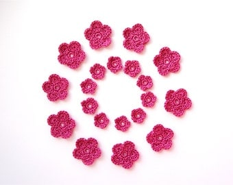 Crochet Flower Applique, Vintage Pink, Set of 20