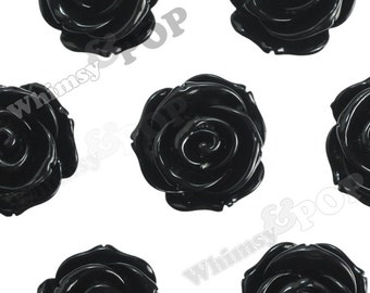 Large Black Rose Beads, Rose Shaped, Flower Beads, Chunky Rose Beads, Drilled Roses, 23mm (R4-049,C2-15)