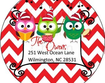 Owl Return Address Labels, Christmas Return Address Labels, Personalized Return Address, Round Address Labels, Custom Address Labels