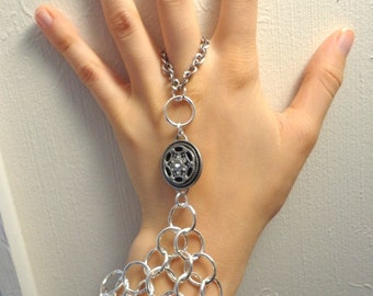 Handmade Chainmaille Slave Bracelet in Silver Tone