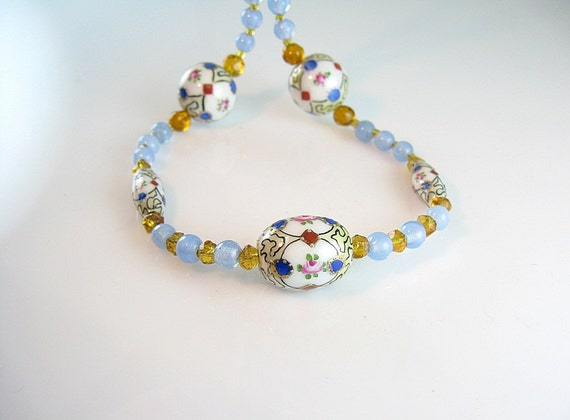 Art Deco Necklace Pink Rose Luster Beads & Amber with Blue Accents 1930s Jewelry
