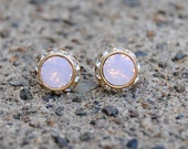 Pink Opal Earrings Small Gold Sugar Sparklers Vintage Swarovski Pink Opal Diamond Rhinestone Vintage Stud Earrings Mashugana