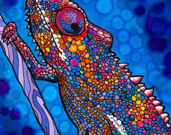 Coexistence Chameleon Print (Colorful Psychedelic Trippy Rainbow Panther Chameleon Drawing in Copic Marker)