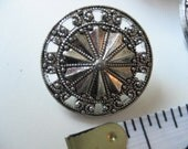 """4 Vintage Silver Marcasite Round Pinwheel Plastic Buttons 3/4"""""""