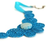 Teal Crochet Lace Necklace - Statement Necklace - Blue Agate Gemstone - Fiber Art Jewelry