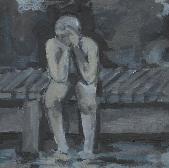 Original Painting of Swimmer Boy on Docks - Neutral Blue, Gray, Beige - Small Moody Acrylic Painting - Size 6x6 - Boy Swimming in Summer