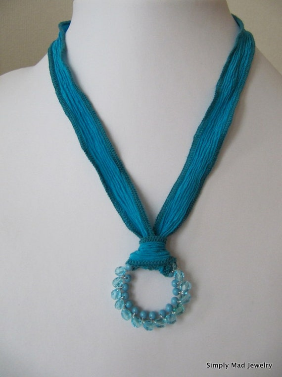 Blue Silk Ribbon Necklace, Wire Wrapped Round Pendant (19748)