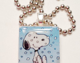 Snowing Snoopy Game  Tile Pendant